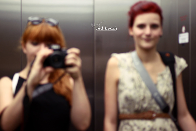 blurry red heads