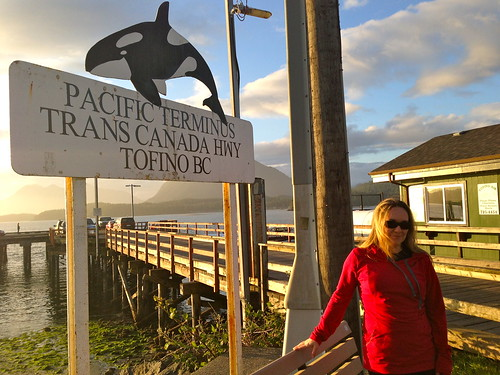 Beth at the Pacific Terminus of the Transcanada Highway