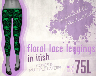 [IF] Floral Lace Leggings in Irish
