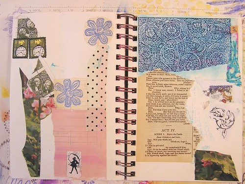 Art Journal Page Started with Collaged Paper, Part 1