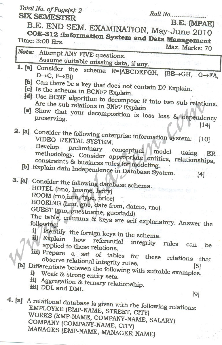 DTU Question Papers 2010 – 6 Semester - End Sem - COE-312