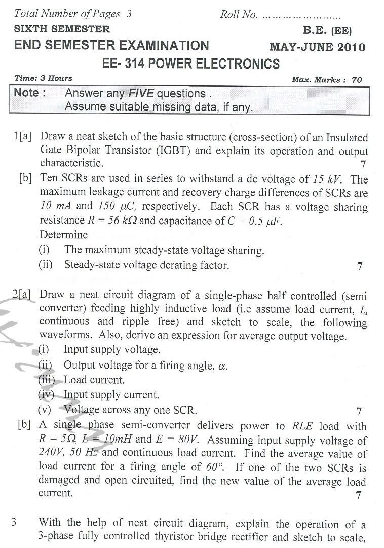 DTU Question Papers 2010 – 6 Semester - End Sem - EE-314