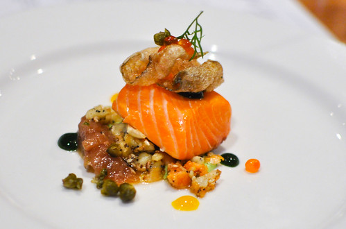 salmon confit, everything bagel, onion marmalade, caper powder