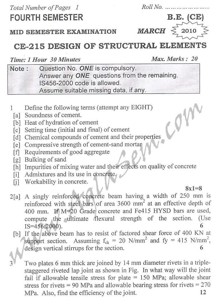 DTU Question Papers 2010 – 4 Semester - Mid Sem - CE-215
