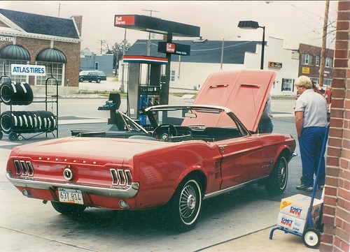 A classic American mid 1960's era Ford Mustang convertable.  Hindsdale  Illinois.  November 1989. by Eddie from Chicago
