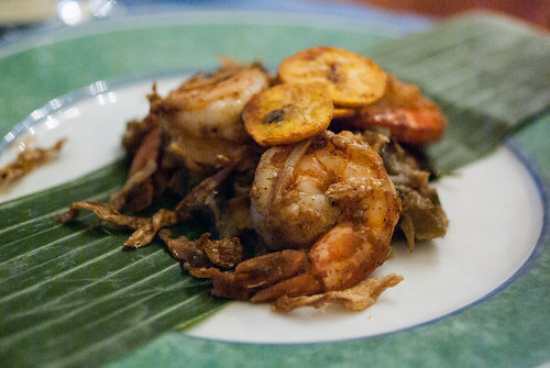 shrimp, eggplant, plantain