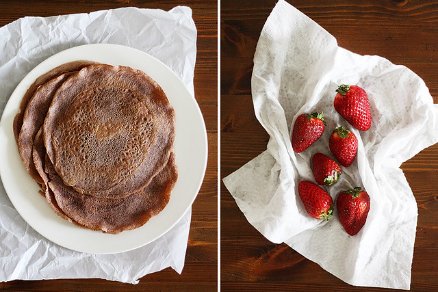 crepes + strawberries