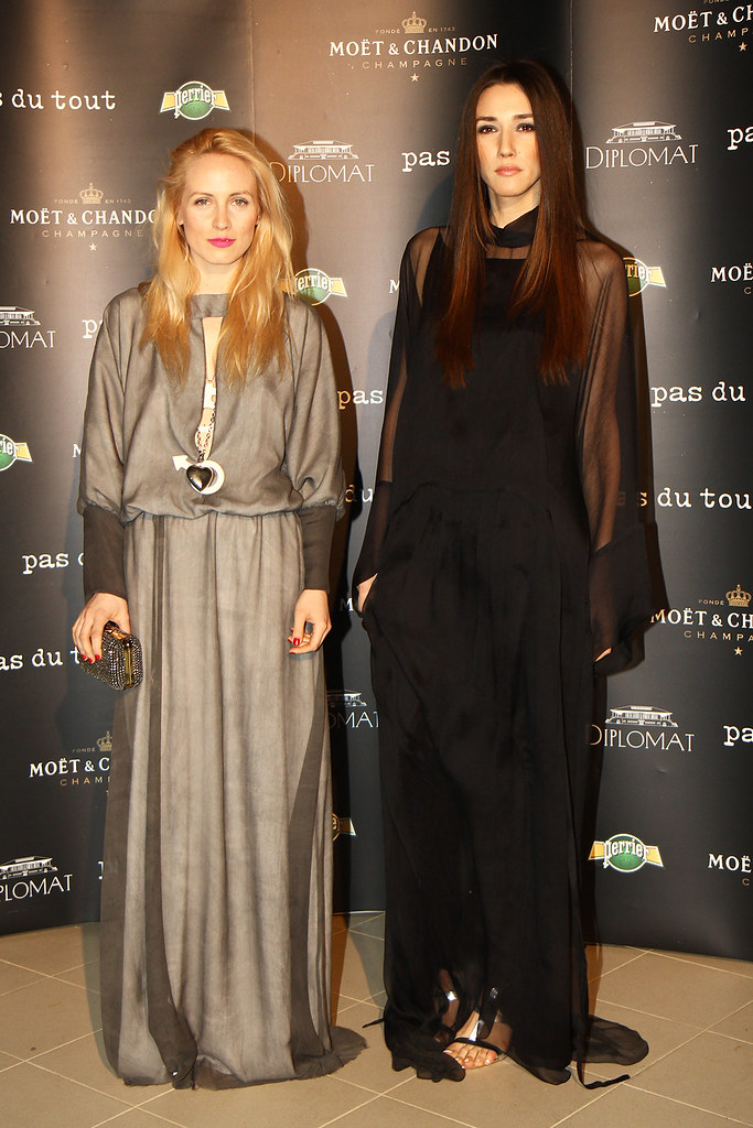 Alina Tanasa and Diana Enciu wearing Pas du Tout dresses at Pas du Tout SS2013 fashion show.