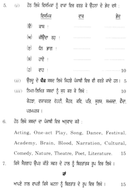 DU SOL B.A. Programme Question Paper -  Punjabi Language C - Paper IX