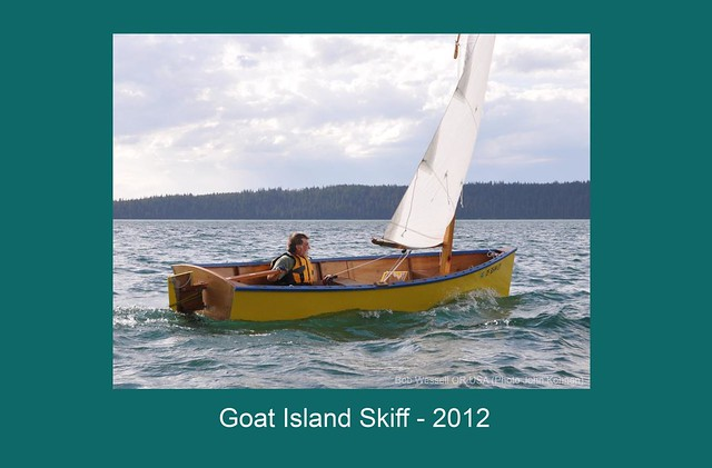 Bobwes's goat island skiff on Timothy Lake, Oregon.  Home built plywood boat lighter than a Laser