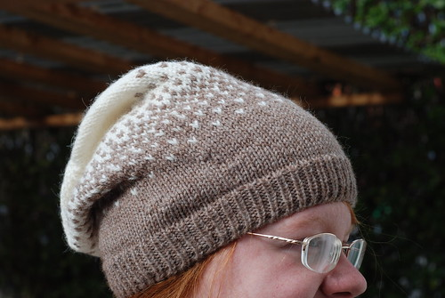 Brown and white colorwork stranded slouchy hat