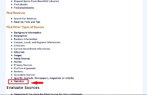 screenshot: Statistics are listed under 'find other types of sources'