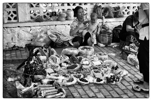 Medicinal herbs and roots vendor outside Talat Sao market, Vientiane, Laos. by daveweekes68