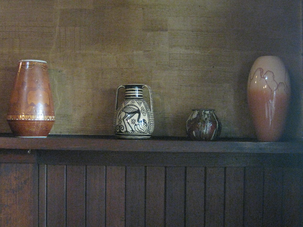 Klytie Pate Studio Pottery on the Mantle of the Great Living Hall's Fireplace at the Waller House – Fairy Hills