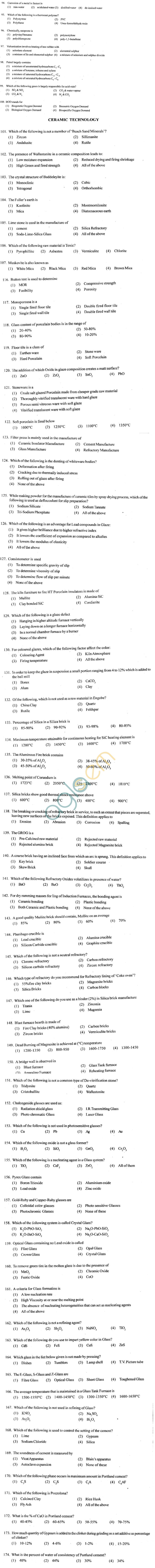 ECET 2012 Question Paper with Answers - Ceramic Technology