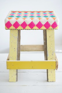 wood & wool  harlequin stool 2