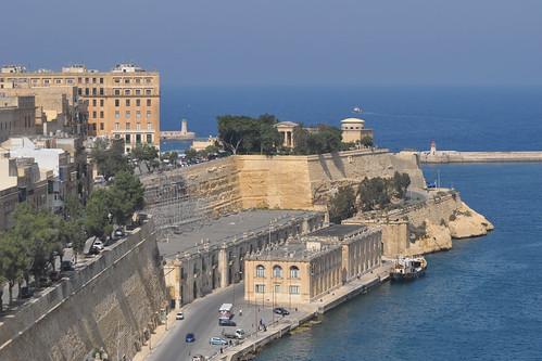 Valletta lighthouses from Upper Barrakka Gardens
