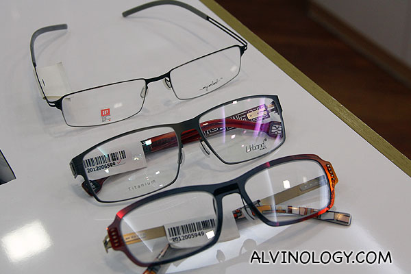 My thee frames from Nanyang Optical - from top to bottom: Eyelet, Urband, Glossi