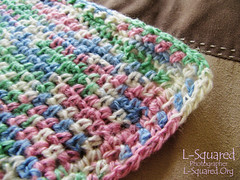 Close-up of the blanket corner to show the edge stitching