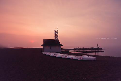 longexposure morning pink seascape toronto ontario canada beach station fog sunrise canon landscape pier boat still cloudy mark lifeguard le ii 5d lakeontario hazy murky eastend thebeaches kewbeach leuty torontolife torontonist 5dmk2