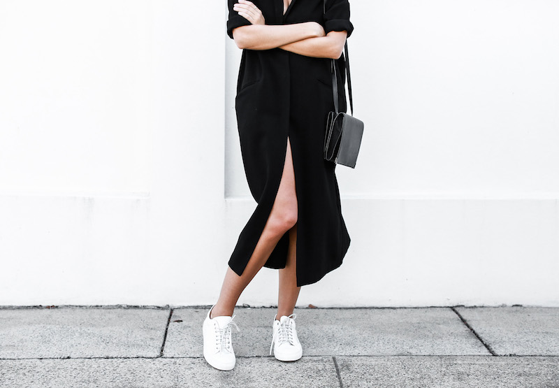 modern legacy blog ASOS duster coat black dress sneakers street style Alexander Wang Prisma clutch monochrome (10 of 13)