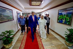 U.S. Secretary of State John Kerry walks with Bangladeshi Prime Minister Sheikh Hasina Wazed at the Prime Minister's Office in Dhaka, Bangladesh, following a bilateral meeting on August 29, 2016. [State Department Photo/ Public Domain]