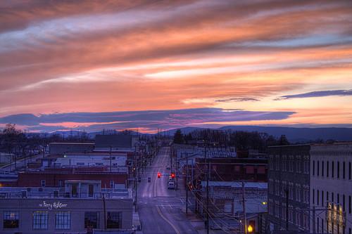 sunset sky mountains clouds buildings easter virginia twilight dusk roanoke terry salem avenue hdr 2012 aldhizer terryaldhizercom