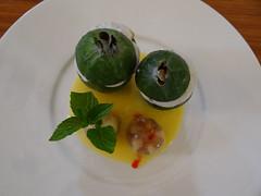 Feijoa Mascarpone Whip & Passion Sauce