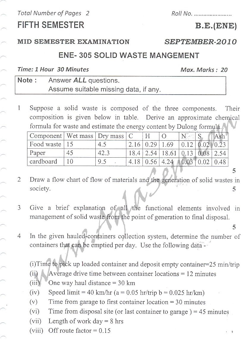 DTU Question Papers 2010 – 5 Semester - Mid Sem - ENE-305