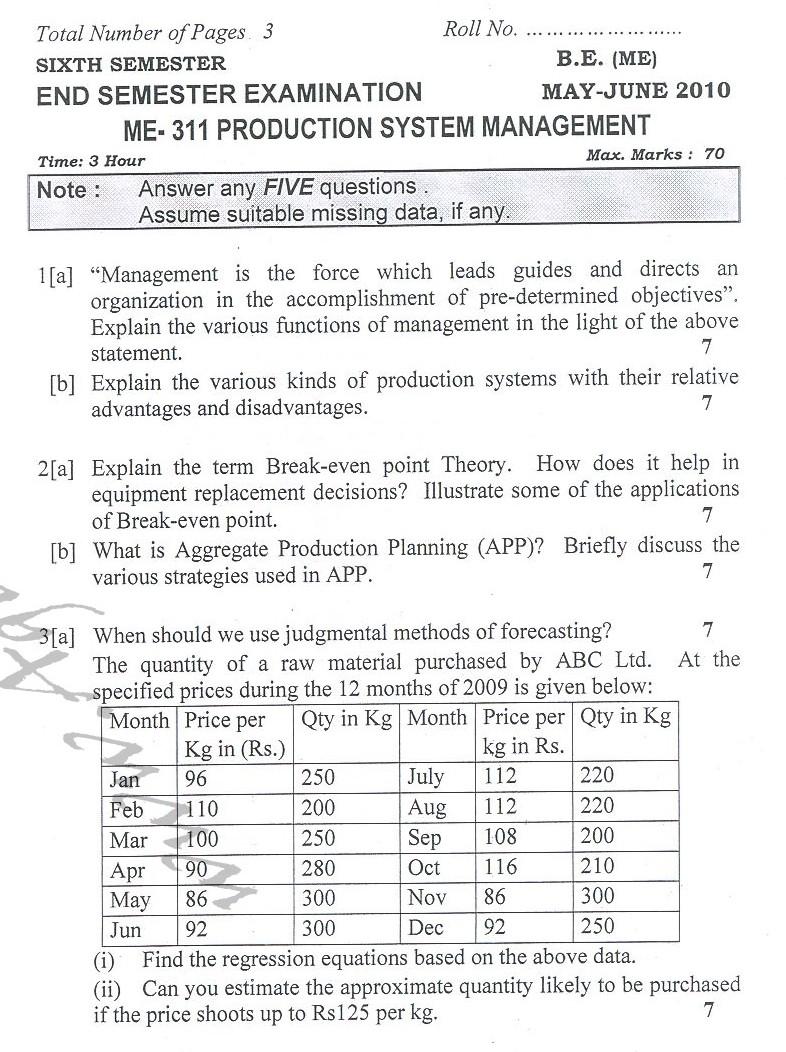 DTU Question Papers 2010 – 6 Semester - End Sem - ME-311