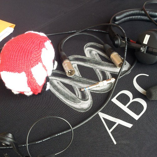 @sayraphim's knitted bus on ABC Riverland