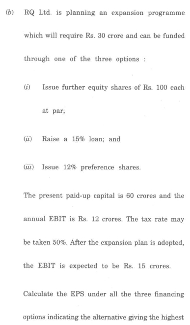 DU SOL B.Com. (Hons.) Programme Question Paper - Financial Management - Paper XIX