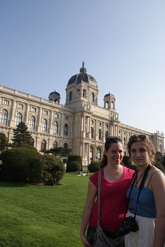 The girls in front of the national art museum.