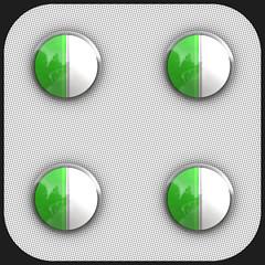 rectangle(0.0), aqua(0.0), number(0.0), jewellery(0.0), gemstone(0.0), glass(0.0), emerald(0.0), medicine(1.0), green(1.0), circle(1.0),
