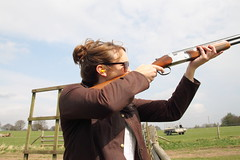 target archery(0.0), bow and arrow(0.0), weapon(1.0), shooting sport(1.0), shooting(1.0), clay pigeon shooting(1.0), sports(1.0), recreation(1.0), outdoor recreation(1.0), trap shooting(1.0), skeet shooting(1.0),