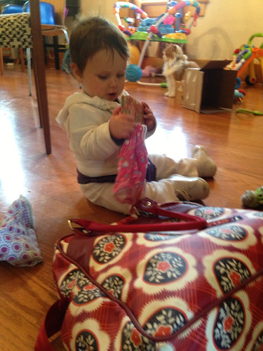Rifling through the diaper bag