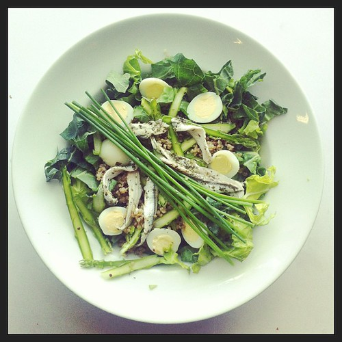 Shaved asparagus, eggs and anchovies by Salad Pride