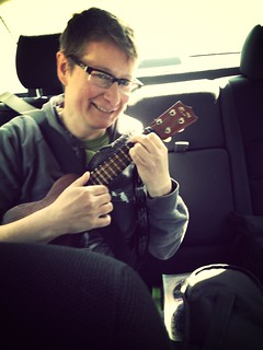 Anne Fleming playing ukulele in the car!