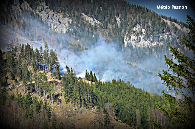 incendies et feux de forêt dans les Alpes par la chaleur et le foehn du 28 avril 2012 météopassion