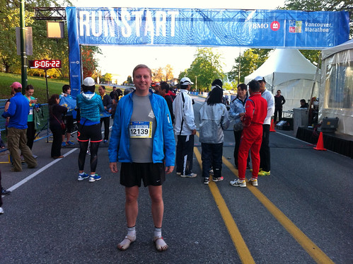 At the start of the Vancouver marathon