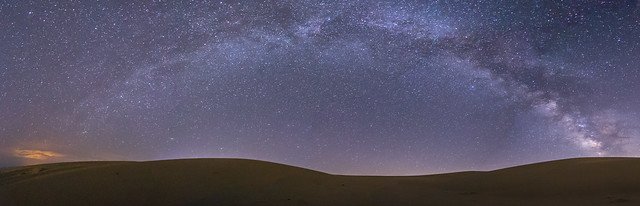 Smooth Sand. Panorama of the Milky Way Over Glamis