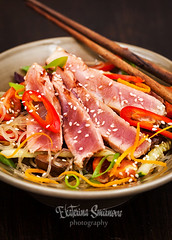 Grilled tuna and  asian rice glass noodles with ve…