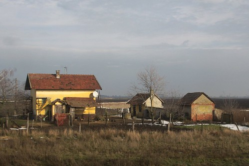 Farmhouses out in south-east Hungary