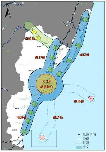 一核五軸發展模式示意圖 圖片來源:台東縣101~104年綜合發展實施方案規劃期末報告書