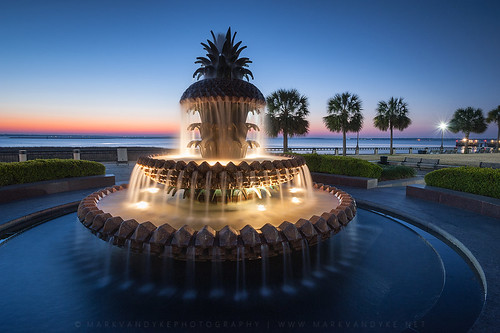 morning sc fountain outdoors dawn early southcarolina charleston pineapple pinecone waterfeature touristattraction circular waterfrontpark cooperriver lowcountry symbology palmettotree traveldestination pineapplefountain fruitshape