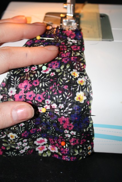 sew panels of skirt together