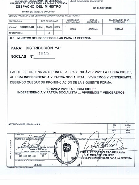 Documento Ministro de Defensa