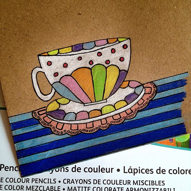 Day 7: Pattern #doodle #doodleadayapril #doodleaday #teacup #cupandsaucer #cup #saucer #pattern #spots #stripes #doily