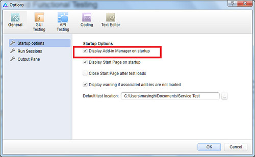 Enable-disable addin manager on launch of UFT