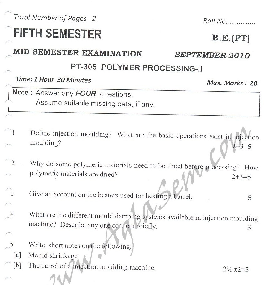 DTU Question Papers 2010 – 5 Semester - Mid Sem - PT-305